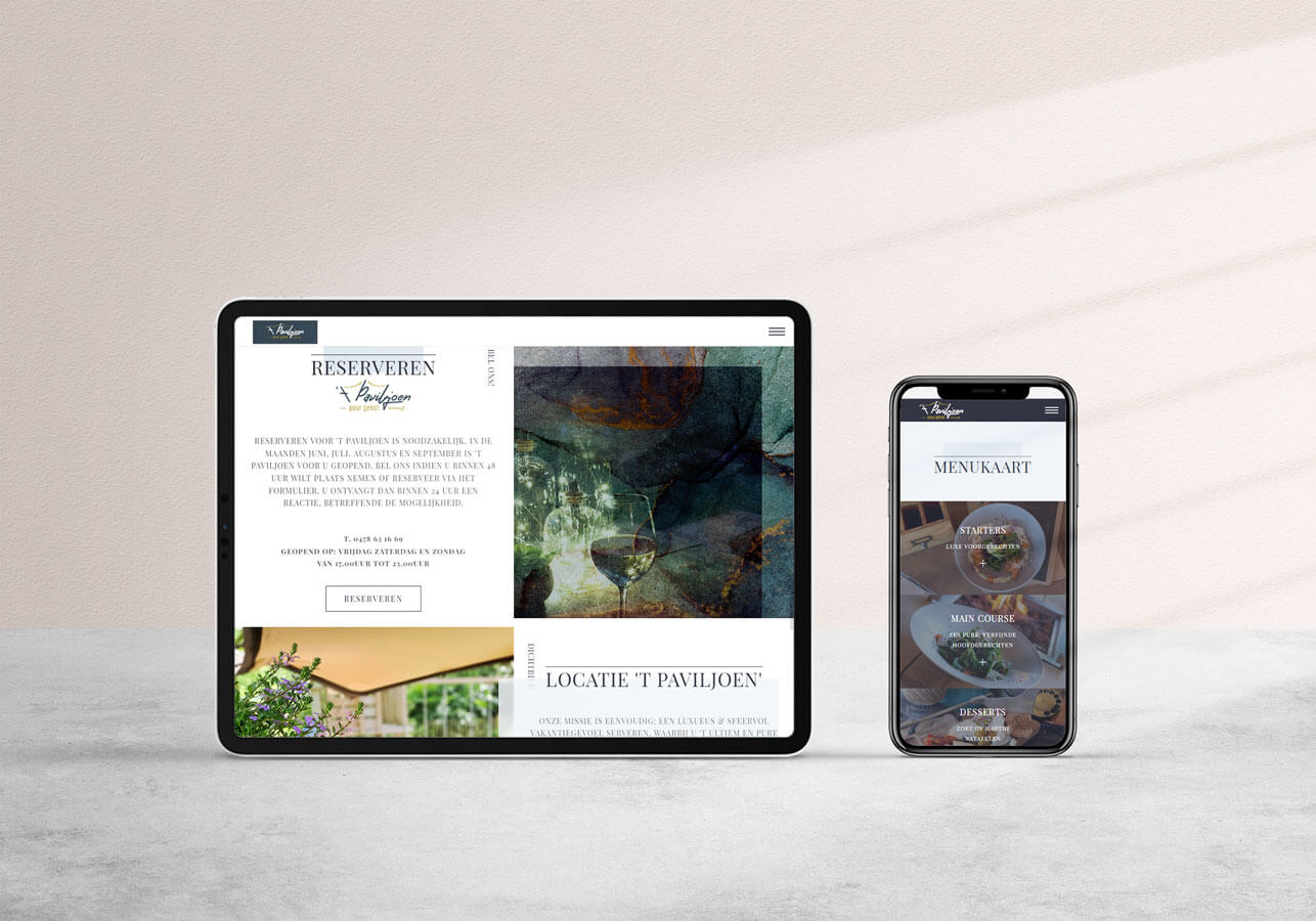 Onepage webdesign 't Paviljoen