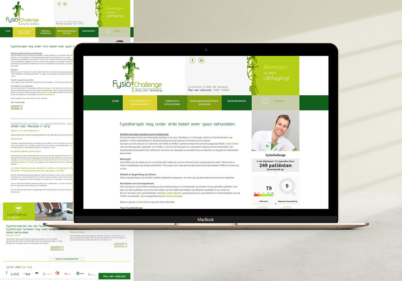 Website design voor Fysiochallenge fysiotherapie