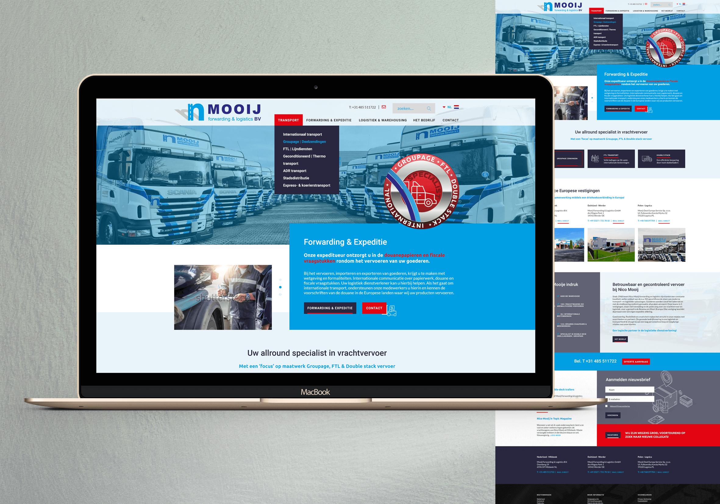 Website CMS transportbedrijf Nico Mooij