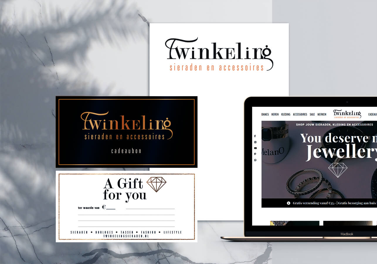 Twinkeling sieraden spaarkaart en cadeaubon ontwerpen